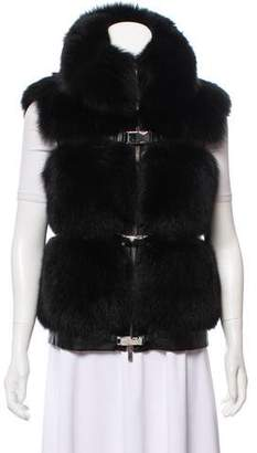 Michael Kors Leather & Fox Fur Vest