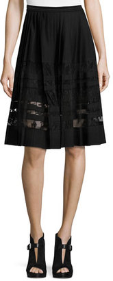 Elie Tahari Frances Pleated Lace-Paneled A-Line Skirt, Black $368 thestylecure.com