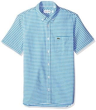Lacoste Men's Short Sleeve Oxford Button Down Collar Reg Fit Woven Shirt