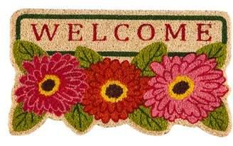 Winston Porter DeLussey Floral Welcome Shaped Coir Doormat