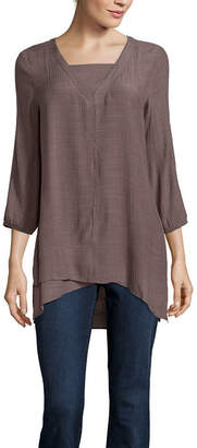 ST. JOHN'S BAY Womens Long Sleeve Tunic Top