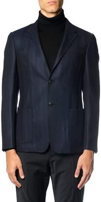 Z Zegna Chevron Wool Single Breasted Jacket