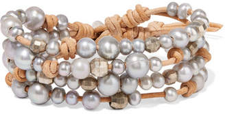 Chan Luu Suede, Silver And Pearl Wrap Bracelet - Gray