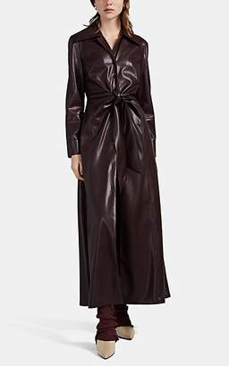 Nanushka Women's Tarot Vegan-Leather Tie-Front Shirtdress - Dk. Purple
