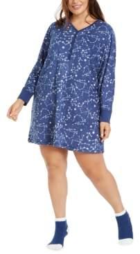 Charter Club Plus Size Sleepshirt & Socks Set, Created for Macy's