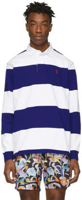 Polo Ralph Lauren Blue and White Iconic Rugby Long Sleeve Polo