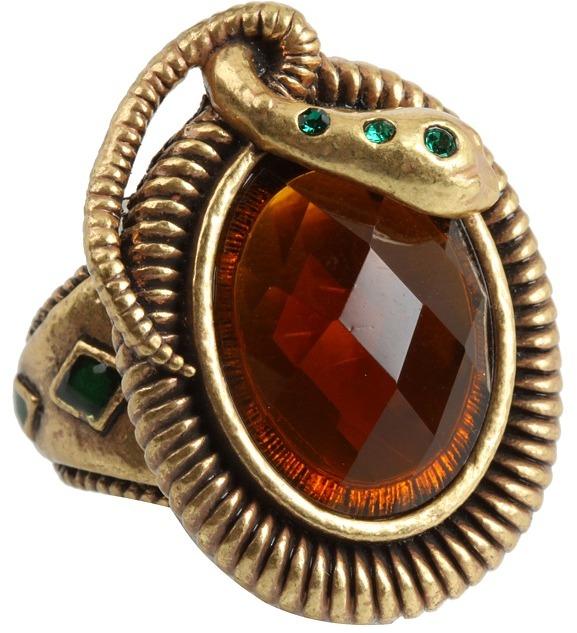 Lucky Brand - Gold Snake Bezel Stone Ring