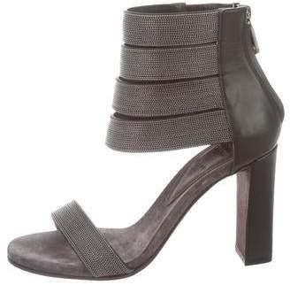 Brunello Cucinelli Monilli-Trimmed MultiStrap Sandals