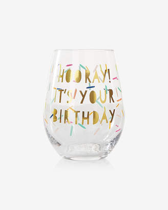 Express Slant Collections Hooray Birthday Stemless Wine Glass