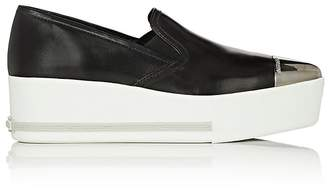 Miu Miu Women's Metal-Cap-Toe Leather Sneakers