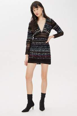 Topshop Embroidered Lace Chain Mini Dress