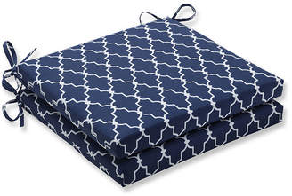 PILLOW PERFECT Pillow Perfect Outdoor / Indoor Garden Gate Navy Squared Corners Seat Cushion 20x20x3 (Set of 2)