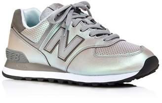 New Balance Women's 574 Dark Sheen Almond-Toe Lace Up Sneakers