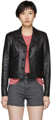 Saint Laurent Black Small Aviator Leather Jacket