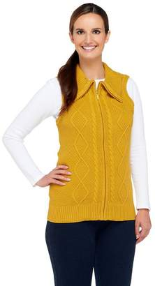 Denim & Co. Zip Front Sweater Vest with Cable Detail