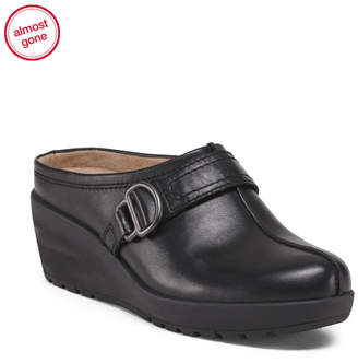 Comfort Leather Wedge Clogs