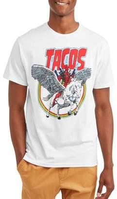 Super Heroes & Villains Marvel Deadpool Tacos and Unicorn Men's Graphic T-shirt