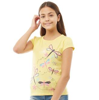 Board Angels Girls Dragonfly Print T-Shirt Lemon Drop