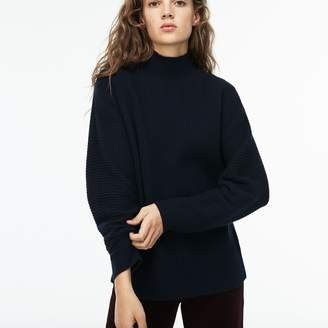 6fcf650e28 Lacoste Women s Stand-Up Collar Ribbed Wool And Cashmere Sweater