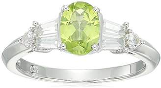 Sterling Silver LIC Oval Peridot and Lab Created White Sapphire Ring