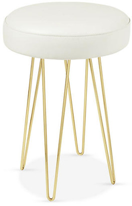 Le-Coterie Le Coterie Hairpin Counter Stool - Brass/White Leather