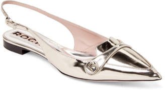 Rochas Gold Patent Pointed Toe Slingback Flats