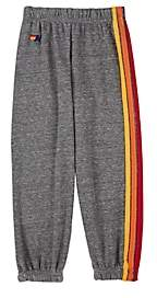 Aviator Nation Kids' Rainbow-Striped Cotton-Blend Sweatpants-Gray