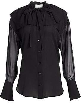 3.1 Phillip Lim Women's Ruffle Collar Silk Shirt
