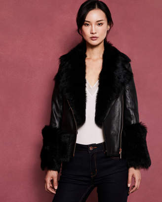 Ted Baker SERER Shearling leather biker jacket