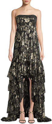 Mestiza New York Alessandra Strapless High-Low Metallic Rose Gown