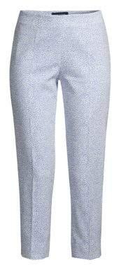 Piazza Sempione Women's Printed Capri Pants - White/Blue - Size 38 (2)