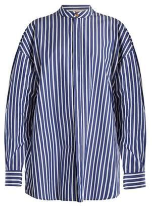 A.w.a.k.e. - Oversized Striped Cotton Shirtdress - Womens - Navy White