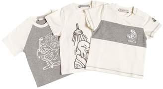 Moncler Set Of 3 Printed Cotton Jersey T-Shirt