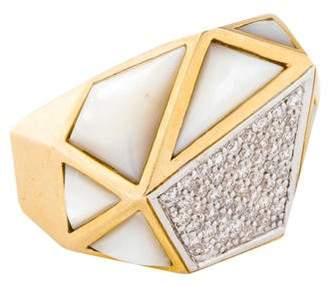 Kara Ross 18K Diamond & Mother of Pearl Ring