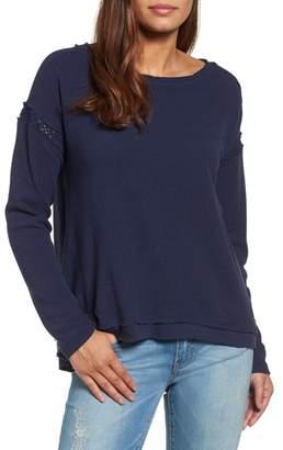 Caslon R R) Crochet Lace Trim Sweatshirt (Regular & Petite)