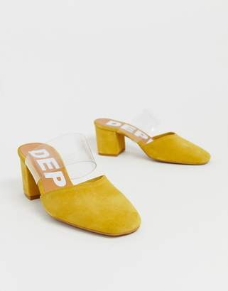 clear Depp leather strap heeled mules in yellow