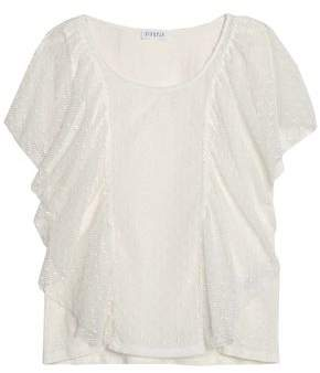 Claudie Pierlot Ruffled Leaver's Lace Linen Top