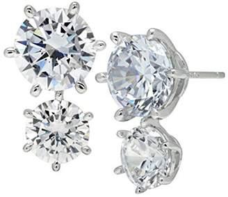 Crislu Women's 925 Sterling Silver Double Round Clear Cubic Zirconia Stud Earrings