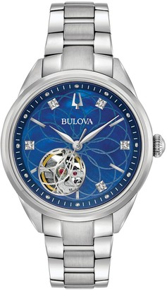 Bulova Ladies Stainless Diamond Accent Automatic Watch