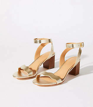 LOFT Metallic Block Heel Sandals