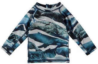 Molo Nemo Whale-Print Long-Sleeve Rash Guard, Size 1-24 Months