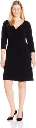 Tiana B Women's Plus Size Solid Jersey Front Knot Dress with Long Sleeves