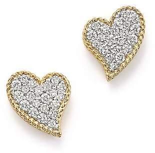 Roberto Coin 18K Yellow Gold Tiny Treasures Diamond Heart Stud Earrings