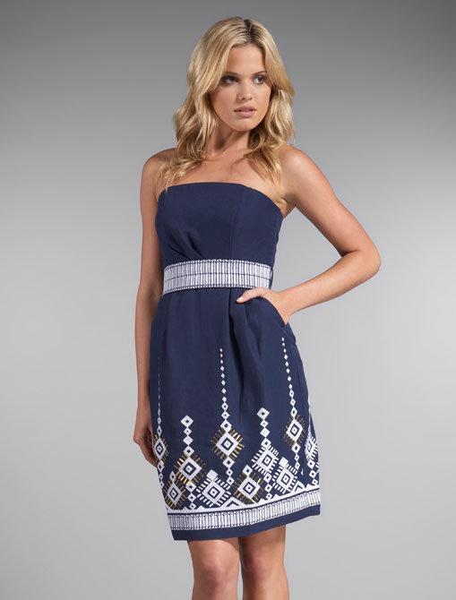 Shoshanna Marrakesh Embroidery Strapless Dress