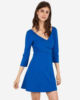 cc571b44 Express Cross Front Surplice Fit And Flare Dress