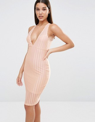 NaaNaa Plunge Neck Bodycon Midi Dress In Satin Sheer Stripe $49 thestylecure.com