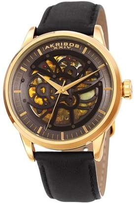 Akribos XXIV Gold Tone Casual Automatic Watch With Leather Strap [AK1018YG]