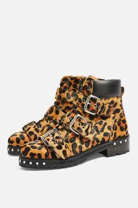 Topshop ANIMAL Leopard Print Hiker Boots