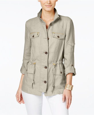 INC International Concepts Linen Utility Jacket, Only at Macy's $119.50 thestylecure.com