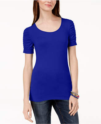 INC International Concepts I.n.c. Ruched-Sleeve T-Shirt, Created for Macy's